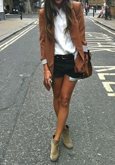 Black & brown, cut off denim, booties, brown blazer, chic street style