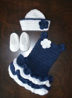 Baby Clothing Crochet Sailor Hat & Matching Tutu Dress by CubbyCreations Baby ClothingSource : Häkeln Matrose Hut & passende Tutu-Kleid mit von CubbyCreations byÄhnliche Artikel wie Crochet Sailor Hat & Matching Tutu Dress with Shoes Nautical Photo Prop Baby Girl Crochet, Crochet Baby Clothes, Newborn Crochet, Crochet For Kids, Crochet Dresses, Crochet Outfits, Crochet Summer, Crochet Crafts, Crochet Projects