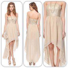 Champayne; sequin silk dress