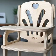 Handmade wooden dolls high chair designed and made in Australia from sustainably sourced plywood. Outdoor Chairs, Outdoor Furniture, Outdoor Decor, Doll High Chair, Wooden Dolls, Handmade Wooden, Chair Design, Cnc, January