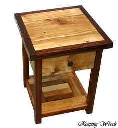 Beautiful Two-tone Reclaimed Antique Barn Red Cedar End Table, Book Stand, Night…