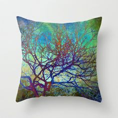 winter tree Throw Pillow by Sylvia Cook Photography - $20.00 #pillow #homedecor #abstract #trees