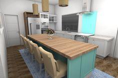 Cozinha Retro estilo Patina - Escolha de cores na Laca branca e azul turquesa.