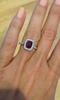 Engagement Ring RUBY & DIAMOND HALO Cushion by PristineCustomRings