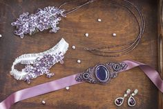 Wedding accesories set The set includes: - Comb for wedding hairstyle. Completely embroidered on lace with czech seed beads of different shades, czech Bridal Headpieces, Headpiece Wedding, Wedding Hairstyle, Lilac, Purple, Wedding Garter, Bridal Hair Accessories, Wedding Jewelry, Belt