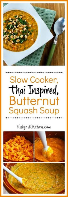Slow Cooker Thai-Inspired Butternut Squash and Peanut Soup with Red Bell Pepper, Lime, and Cilantro Vegan Slow Cooker, Slow Cooker Recipes, Crockpot Recipes, Soup Recipes, Vegetarian Recipes, Healthy Recipes, Asian Recipes, Real Food Recipes, Cooking Recipes