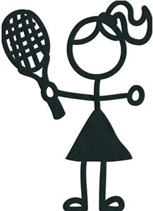 stick figures - tennis girl