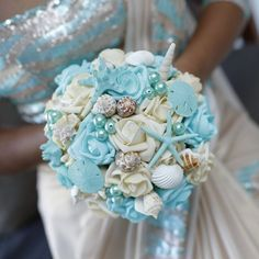 Seashell Bouquet for bride or Bridesmaids Beach by BouquetsByVera