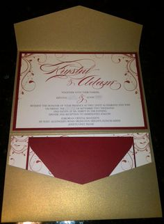 Our Pocketfold Invitations : wedding diy gold invitations ivory pocketfold red 21st Invitations, Pocketfold Invitations, Gold Wedding Invitations, Wedding Stationary, Wedding Favors, Invitation Ideas, Red Wedding, Wedding Day, Autumn Wedding