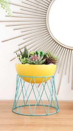 Modern Stand Planter, made from a bowl and a pizza riser! Lovely Indeed