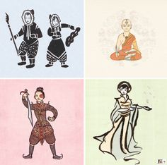 Avatar characters reimagined with the art styles of their respective countries of inspiration. (Did that sentence make sense?)