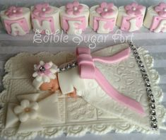 CHRISTENING CAKE TOPPER Baby Girl Baby Shower Baptism cake topper Edible cake topper Gum paste Cake topper