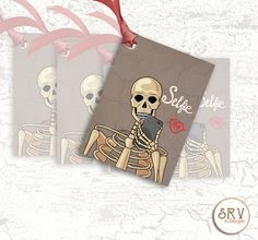 8 Skeleton Gift Tags, Skeleton Taking a Selfie, 2.5 x 3.5 Hang Tag, Funny Tags, Product Tag, Write Message on Back, Choose Ribbon Color by SRVintageandDesigns on Etsy