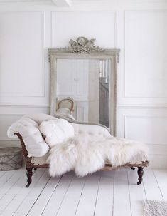 Stunning antique French chaise Deconstructed and ready to be upholstered or leave as it is Bottom has been covered in a French floral fabric which gives a great contrast from the calico The arm and back rest have been redone in calico The springs need fixing for daily use Great for the