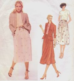 Misses Jacket, Top & Skirt: Semi-fitted, lined, above-hip length jacket has shoulder pads, shawl collar, front buttoned closing, side panel (no side