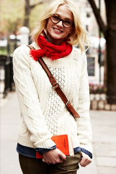 cream knit, chambray button down, red scarf+tweed pants