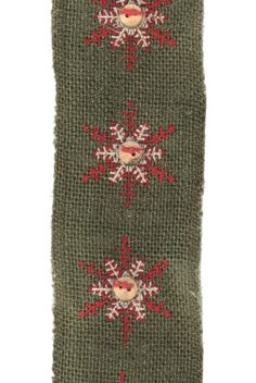 embroidery button snowflake on burlap, green