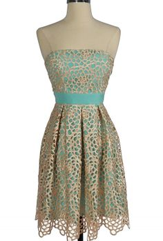 Sweet Honeycomb Lace Overlay Strapless Designer Dress by Minuet in Teal