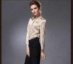 Pure Mulberry SILK blouse Women long sleeve work Brand Solid Blusas femininas Office lady STRETCH Plus size NEW FALL shirt