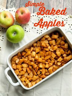 Simple Baked Apples--the healthy side dish your whole family will LOVE.  Quick and easy clean-eating recipe.