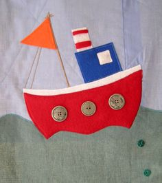Ocean Wall Hanging - boat by incywincystitches, via Flickr