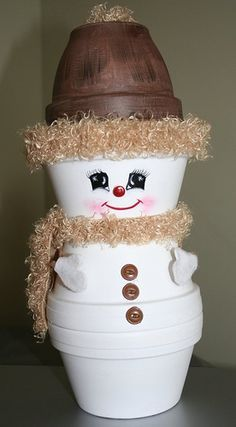 Clay pots snowman craft
