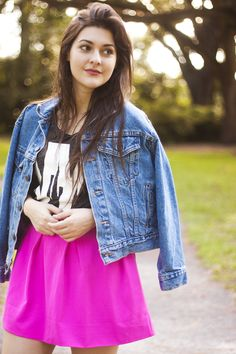 Love the bright skirt with denim