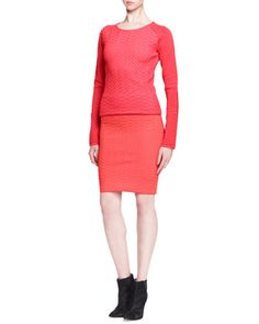 Fitted Chevron Pullover Sweater and Pencil Skirt by Alexander Wang at Neiman Marcus.