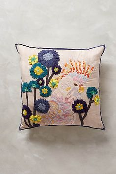 Embroidered Cockatoo Cushion