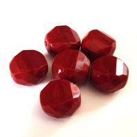 4 geschliffene Glasperlen | Rot Braun opak | 12mm *pe4803 - 1A-Qualität aus Böhmen bei JAUL.biz