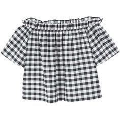 MANGO Gingham check blouse (805 ARS) ❤ liked on Polyvore featuring tops, blouses, shirts, crop top, boat neck shirt, boat neck blouse, crop blouse and short sleeve crop top
