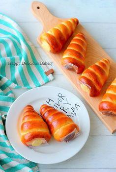"""チョコ&カスタードのWコロネ♪ - はじめてでも簡単♪あいりおーの""""毎日つくりたくなる""""おうちパン レシピブログ -料理ブログのレシピ満載!"""