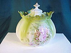 RS PRUSSIA MELON MOLD FLORAL BISCUIT JAR