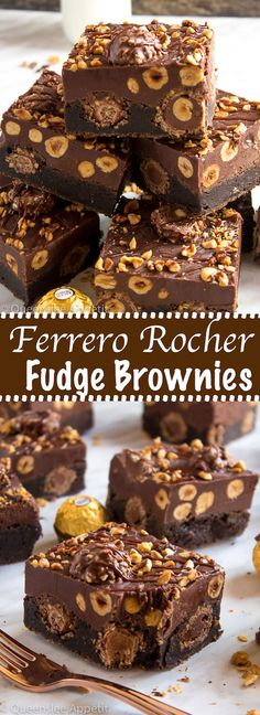 These Ferrero Rocher Fudge Brownies are the ultimate dessert bars! A Ferrero Rocher stuffed fudge brownie, topped with a creamy Nutella Fudge filled and topped with Ferrero Rochers and roasted hazelnuts. Take these bars to another level with a drizzle of Fudge Brownies, Nutella Fudge, Nutella Ganache, Chocolate Brownies, Brownies With Nutella, Ultimate Chocolate Fudge Cake, Ferrero Nutella, Death By Chocolate, Dessert Chocolate
