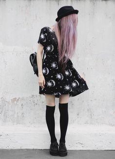 Sun Moon Stars Print Casual Babydoll Dress - http://pastelgothfreak.com