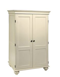 White Armoire Cabinet - might be a good way to hide the computer and printer