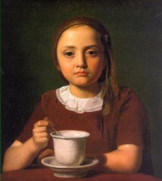 Portrait of a Little Girl, 1850, oil on paper on canvas; 15 3/8 x 14 inches by Constantin Hansen (Denmark, 1804-1880).