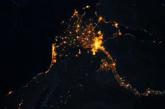 Cairo, Alexandria, Delta, Canal & north of Upper Egypt towns lights at night. Taken in 2015