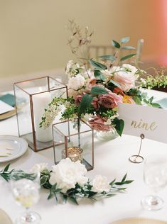 Garden Flowers and Gold Terrarium Centerpiece #wedding #weddings #weddingideas #filmweddings #fineartweddings #filmphotography #romantic #weddingdetails #pinkwedding #weddingdecor #centerpiece #gardenwedding