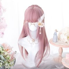 Kawaii Pink Lolita Straight with Bangs Wig - Kuru Store Lolita Cosplay, Kawaii Cosplay, Kawaii Hairstyles, Cute Hairstyles, Kawaii Wigs, Cute Hair Colors, Hair Sketch, Pink Wig, Full Hair
