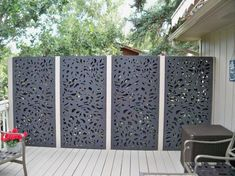 x 3 ft. Charcoal Gray Modinex Decorative Composite Fence Panel Featured in the Botanical - The Home Depot Modinex 6 ft. x 3 ft. Charcoal Gray Modinex Decorative Composite Fence Panel Featured in the Botanical - The Home Depot Privacy Fence Designs, Privacy Walls, Backyard Fence Decor, Fence Design, Modern Design, Backyard Landscaping Designs, Backyard Decor, Outdoor Privacy Panels, Patio Design