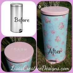 Shabby Chic Kitchen Trash Can Makeover #ShabbyChicKitchen