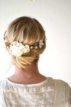 Bridal Headpiece, Flower Crown, Floral Crown, Woodland, Ivory Flower Head Wreath, Wedding Head Piece, Bridal Hair Accessories - LIGHTLY on Etsy, £33.21