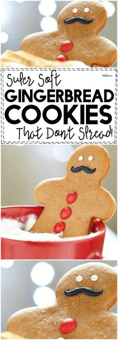 Soft Gingerbread Cookies that Don't Spread Soft, sweet and gingery-ful Gingerbread cookies that don't spread and make PERFECT gingerbread men. - These SUPER soft Gingerbread Cookies that don't spread are AMAZING. Galletas Cookies, Holiday Cookies, Holiday Treats, Christmas Treats, Sugar Cookies, Holiday Recipes, Almond Cookies, Chocolate Cookies, Cookies Soft