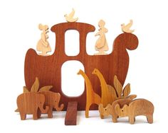 Wooden Toy Noah's Ark Waldorf Wood Miniature by OohLookItsARabbit, $65.00