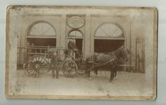 "Danville, IL - Horse and Wagon in fron of Fire House - RPPC 5"" x 8"" - 1880's."