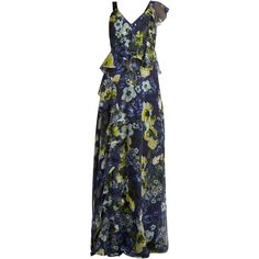 Erdem Cece Hasu Night-print V-neck silk gown (54.535 ARS) ❤ liked on Polyvore featuring intimates, sleepwear, nightgowns, navy multi, erdem, silk nightgown, silk nightdress, silk sleepwear and silk nightie