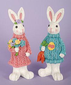 Another great find on #zulily! Bunny Boy & Girl Figurine Set #zulilyfinds