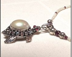 Pewter with Pearl turtle necklace