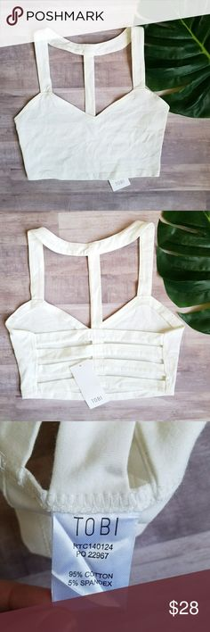 Tobi Caged Bralette Tobi. Women's Medium. Off-white. Caged back bralette.  Pullover style. Brand new with tags! Tobi Intimates & Sleepwear Bras